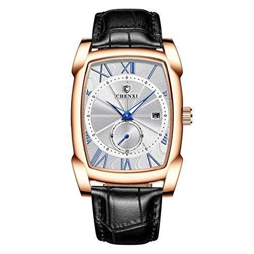 Reloj vintage de los hombres retro de cuero genuino correa relojes de números romanos cuadrados antiguos relojes de los hombres regalo impermeable