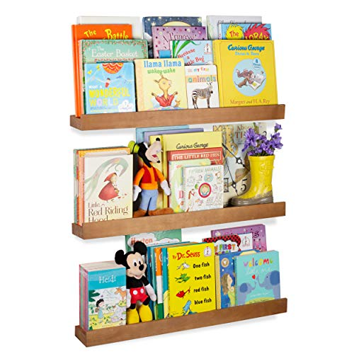 Rustic State Smith Wood Baby Nursery Kids Room Bookshelf | Farmhouse Decor Picture Ledge Shelves Display Walnut Set of 3 (30 Inch)