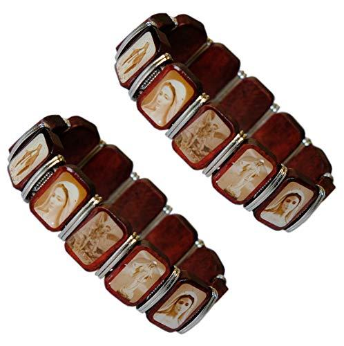 Kaltner Präsente Geschenkidee - Heiligenarmband Armband aus Holz mit Heilige Jesus Christus Maria Mutter Gottes Madonna Set 2 Stück