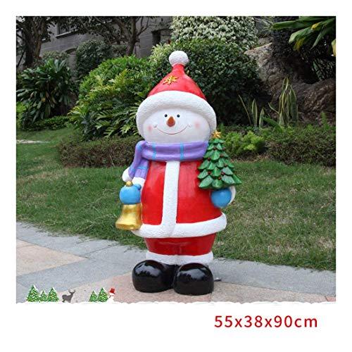 Nologo SHM-MM Weihnachtsschneemann-Skulptur, Weihnachtsgarten-Verzierungen, Kunsthandwerk, 55 × 38 × 90 cm