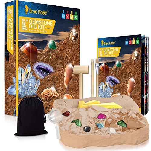 CAPKIT Gemstone Gem Dig Kit, STEM Educational DIY Toys Science Kit - Dig Up 15 Unique Real Gemstone, Rocks, Mining Unique Gifts, Archaeology - Best Gifts for Boys & Girls Kid Toys
