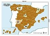 Mapa rascable de España para viajar con perro | 59x42 cm | Primer mapa de rascar con dibujos de lugares emblemáticos y razas de perros | Incluye rascador y folleto
