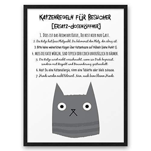 Katzenregeln Katze Hausordnung ABOUKI Kunstdruck Poster Bild lustige Geschenk-Idee für Katzenfans Katzenliebhaber - ungerahmt - DIN A4