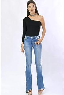 Calça Flare Jeans Barra Assimétrica
