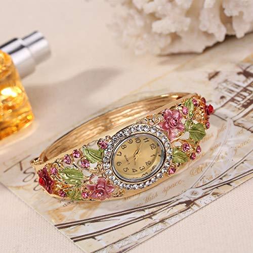 JZDH Frauen-Uhren Cloisonné Retro Palast-Art-blumige Damen-Armbanduhr Armband-Uhr-Frauen-Quarz-Uhr Dame Armbanduhr (Color : Red)