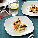MALACASA, Serie Elisa, 12 TLG. Set 7,5″ Porzellan Dessertteller Kuchenteller Teller Set 19x19x2cm für 12 Personen - 5