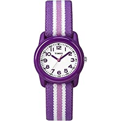Timex Girls TW7C06100 Time Machines Purple/Pink Stripes Elastic Fabric Strap Watch