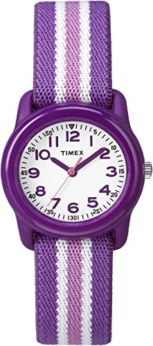 Timex Girls TW7C06100 Time Machines Analog Resin Purple/Pink Stripes Elastic Fabric Strap Watch