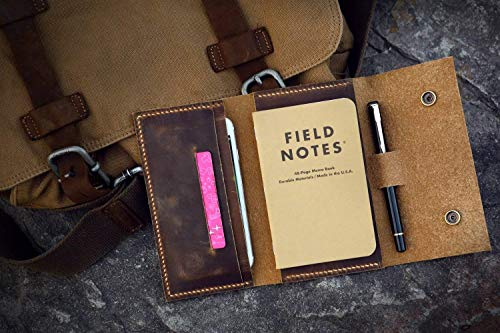Leather travel journal wallet leather notebook wallet for pocket size field notes leather wallet cover iPhone X XS MAX wallet FA605CDB