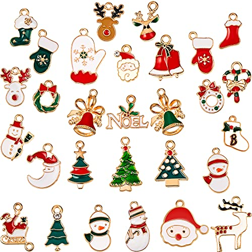 Christmas Pendant Charms Enamel DIY Jewelry Charms Christmas Theme Charm Pendants for Bracelet Necklace Earring Craft Making Clothes Sewing Bag Decoration Scrapbooking Supplies, 32 Styles (96 Pieces)