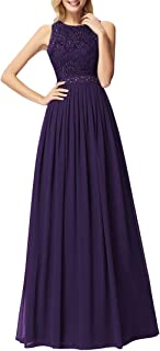 Ever-Pretty Vestito da Damigella Donna Girocollo Linea ad A Pizzo Chiffon Stile Impero Senza Maniche 07391