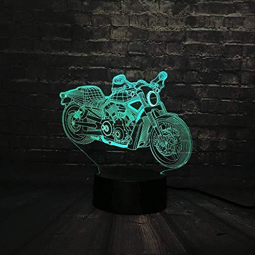 Lámpara de ilusión LED 3D, motocicleta fresca, 7 colores, luz nocturna para bebés, cambio de color, decoración interior, niños, niñas, niños, regalo para niños-16 colors remote