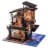 qingyin Kit De Casa De Muñecas En Miniatura DIY Cottage Valencia Coast Villas Set, 1:24 Scale Creative Cabin con Luz LED Y Música, Regalo De Cumpleaños para El Día De San Valentín