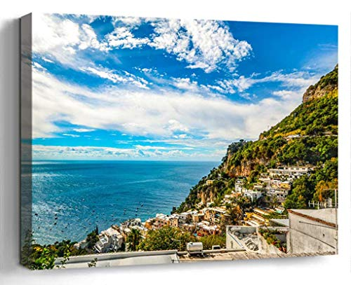 Wall Art Canvas Print Photo Artwork Home Decor (24x16 inches)- Amalfi Coast Sorrento Positano Italy Sea