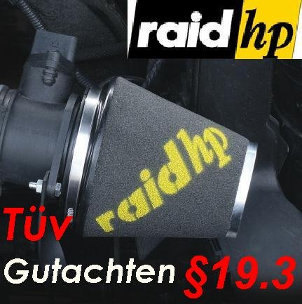 RAID HP Sport Luftfilter + 3 Adapter Ringe mit TÜV §19.3 (basierend auf 526320) raid hp Sportluftfilter Formula Peugeot 206 CC 2.0 / GTI GT 135 PS