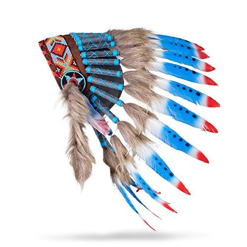Pink Pineapple Tocado Hecho a Mano Inspirado en los Nativos Americanos: Equipo de Plumas Genuino de Niños y Adultos para Festivales - Pequeña - Rojo Blanco y Azul