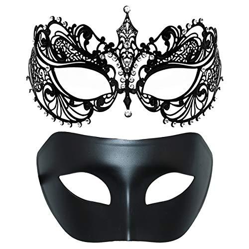 Thmyo Maschera Mascherata da Coppia, Maschera corazzata Costumi veneziani Maschera di Promenade di Mardi Gras (Nero + Nero)