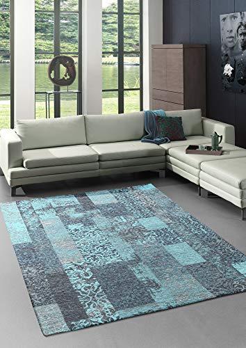 Bari - Alfombra vintage moderna con elementos clásicos, patchwork, muy plana, aspecto usado, colores intensos, turquesa, 160 x 230 cm