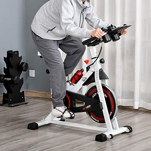 51Lt0tzDVwL. SL500  - HOMCOM Bicicleta Estática Bicicleta de Fitness Pantalla LCD Asiento Manillar Ajustable Volante de Inercia 8kg Resistencia Regulable 103x53x110-114 cm Acero Blanco