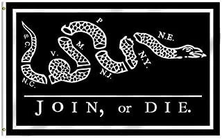 ALBATROS 3 ft x 5 ft Benjamin Franklin Tea Party Join or Die Black Nylon Poly Flag Banner for Home and Parades, Official Party, All Weather Indoors Outdoors