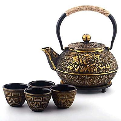 6-piece Japanese Cast Iron Pot Tea Set with Trivet, Golden Peony (40 oz)