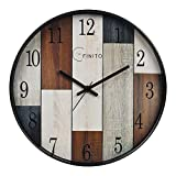 EFINITO Plastic Silent Movement Wall Clock (Brown_35 x 6 x 35 cm)