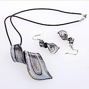 Ecloud Shop Conjunto Collar + Pendientes Cristal de Murano Espiral Negro