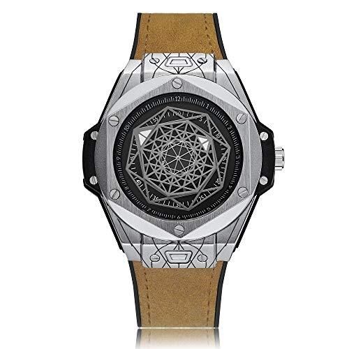 Uhren 6868 Geometric Polygon Dial Quartz Dual-Bewegungs-Uhr-Männer TPU-Bügel-Uhr Asun (Color : Color8)