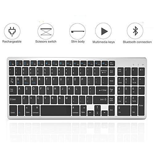 Meteor fire Ultraflache kabellose Tastatur, tragbare Bluetooth-Tastatur, eingebauter Lithium-Akku mit 102 Tasten und Zwei Tasten, kompatibel mit Laptop/Desktop/Smartphone/Tablet usw.