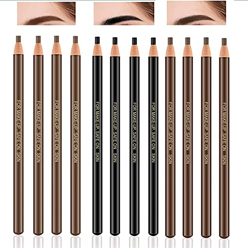 3 Colors Eyebrow Pencil Eyeliner Set,12Pcs Pull Cord Peel-off Eyebrow Pencil Tattoo Makeup and Microblading Supplies Set for Marking, Filling and Outlining, Waterproof and Durable Permanent Eyebrow Liner-(black, dark brown, light brown)
