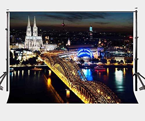 BuEnn 7X5ft City Night View Kulisse Kölner Dom Fotografie Hintergrund Studio Requisiten LYLX132