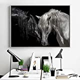 Kit de pintura de diamantes de caballo blanco y negro para adultos, 5D con diamantes de cristal con herramientas de accesorios, cuadro de bricolaje para decoración del hogar, regalo de 40 x 50 cm