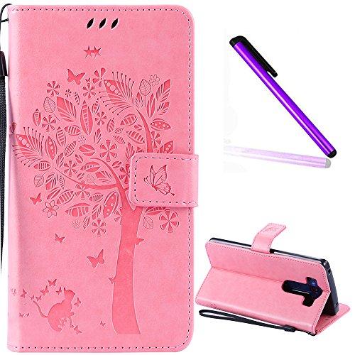 LG V10 Case Cover EMAXELER Stylish Wallet Kickstand Diamond Embossed Credit Cards Slot Cash Pockets PU Leather Flip Cover for LG V10 H968 Wish Tree Pink