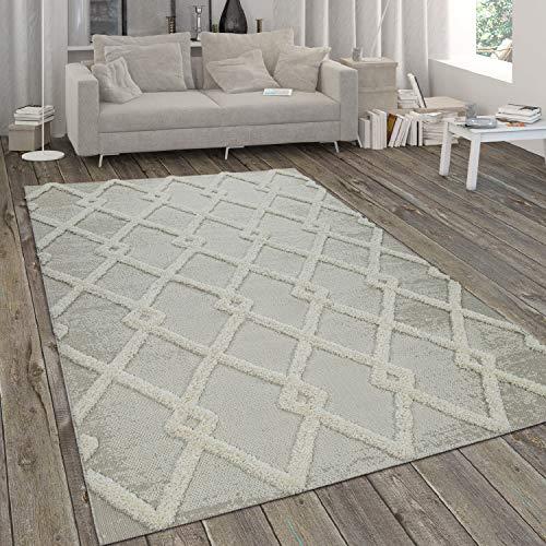 Paco Home Tapis Intérieur & Extérieur, avec Poils Longs en Relief Et Motif Losanges, Beige, Dimension:200x290 cm