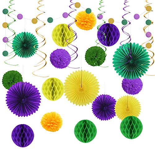 LOPOTIN 26Pcs Reusable Birthday Decoration Set Gold Purple Green Decorations Party Centerpiece Glitter Circle Garlands Banner Hanging Paper Fans Pom Poms Honeycomb Balls for Mardi Gras Birthday Easter