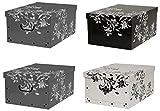 Kreher Set 4 Stück Deko Karton'Barock Blumen'.Stabile Kartons aus Pappe in Schwarz, Weiß und Grau....