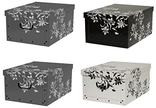 """Kreher Set 4 Stück Deko Karton""""Barock Blumen"""".Stabile Kartons aus Pappe in Schwarz, Weiß und Grau. XL Volumen mit Kunststoff Griffen und Deckel. Preiswert und schön. Maße ca. 51 x 37 x 24 cm"""