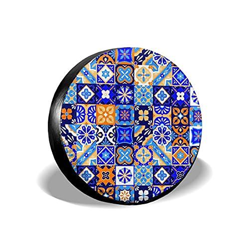 VINISATH Tire Cover Spare Wheel Tire Cover,Cerámica Cerámica Mexicana Talavera Azulejos Patrón Cultura Abstracta Azul México Geo Mosaico Floral,Wheel Covers Accessories
