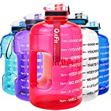 QuiFit Motivational Gallon Water Bottle - with Time Marker & Infuser & Flip Top Leak-Proof Reusable Water Jug for Fitness Outdoor Sports Enthusiasts BPA Free(Hot Pink, 1 Gallon)