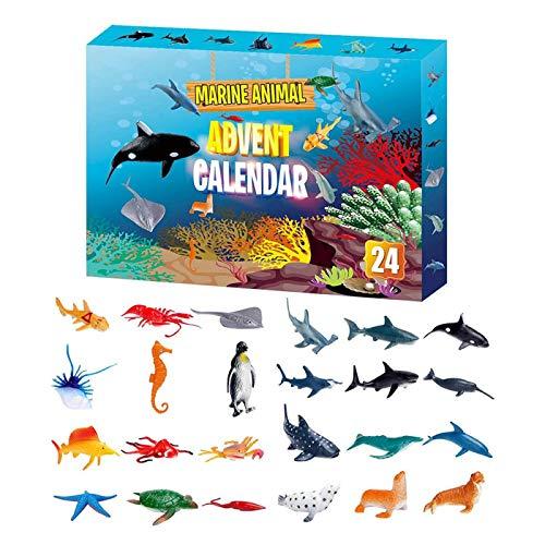 Vtops Weihnachts-Adventskalender, 2020 Weihnachts-Adventskalender 24PCS Marine Animal Toy Weihnachts-Countdown-Geschenk für Kinder, Jungen und Mädchen