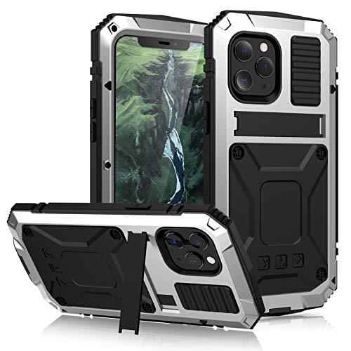 Funda para iPhone 12 Pro MAX, [Rugged Armour] Metal Aluminio Cover Extreme Alta Resistencia Protector Shockproof Military Heavy Duty Carcasa para iPhone 12/12 Pro/12 Pro MAX,Silver,iPhone12Pro