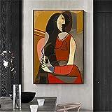 Crazystore Pinturas Decoración 40x60cm sin Marco Mujer sentada Reproducciones de Pablo Picasso Lámina Famosa Picasso Cuadros Abstractos para la decoración de la Pared del hogar