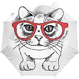 Cute Cat Animal Cartoon Black White Auto Open Umbrella Sun Rain Umbrella Anti UV Folding Compact Automatic Umbrella