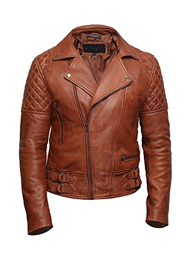 BRANDSLOCK Herren Leder Biker Jacke Cross Zip Brando Retro Casual Vintage gewaschen Tan Brown Lederjacke (BRÄUNEN, XL)