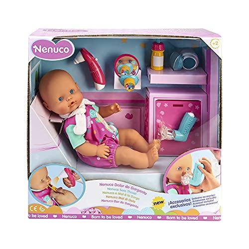 Nenuco - Dolor De Garganta, juega a cuidar a Nenuco malito, incluye accesorios divertidos con luz, sonido y olor como un termo-chupete se pone rojo cuando tiene fiebre y ropita. FAMOSA (700015152)