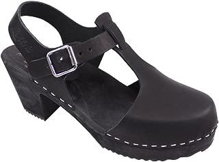 Lotta From Stockholm Highwood Tbar High Heel Clogs Black Leather Black Sole