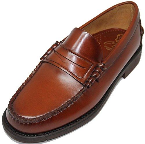 2562. Zapato mocasín Cosido a Mano en Inca Mallorca; Piel de máxima Calidad, Color Cuero (11)