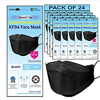 [Happy Life] Premium 3D Black KF94 Face Mask Good Day Individual Pack Made in Korea  24