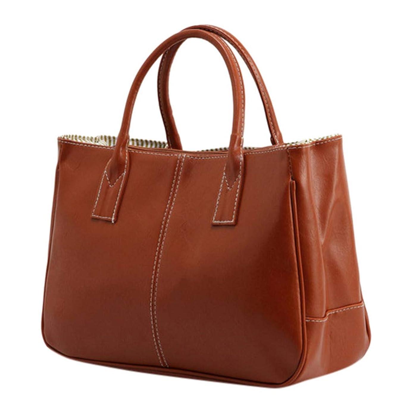 Leather Handbags for Women Top Handle Handbags Large Capacity Cosmetic Travel Bag Waterproof Tote Bags Purse (Brown)