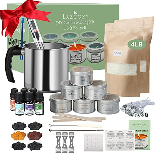 Candle Making Kit Supplies, Soy Wax DIY Candle Craft Tools Including Candle Make Pouring Pot, Candle Wicks, Wicks Sticker, Natural Soy Wax and Spoon, 6 Candle tins with Lids